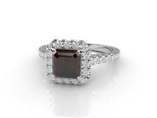 Natural Smoky Quartz and Diamond Halo Ring. Hallmarked Platinum (950)-06-0139-8931