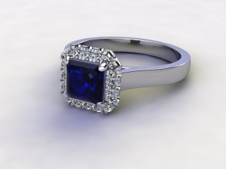 Natural Kanchanaburi Sapphire and Diamond Halo Ring. Hallmarked Platinum (950)-06-0147-8930
