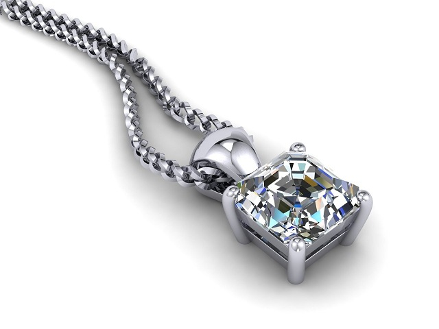 Certified Asscher-Cut Diamond Pendant  - Main Picture