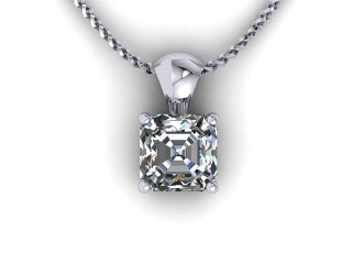 Certified Asscher-Cut Diamond Pendant  - 9