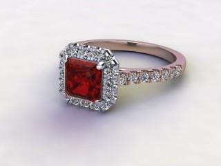 Natural Mozambique Garnet and Diamond Halo Ring. Hallmarked 18ct. Rose Gold-06-0417-8931