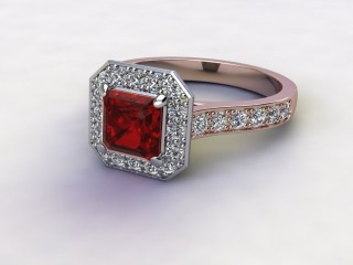 Natural Mozambique Garnet and Diamond Halo Ring. Hallmarked 18ct. Rose Gold-06-0417-8933
