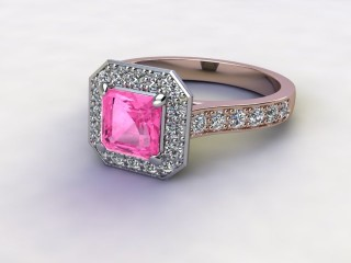 Natural Pink Sapphire and Diamond Halo Ring. Hallmarked 18ct. Rose Gold-06-0424-8933