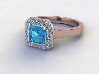 Natural Sky Blue Topaz and Diamond Halo Ring. Hallmarked 18ct. Rose Gold-06-0438-8932
