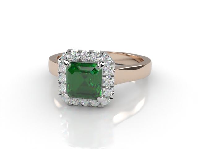 Natural Green Tourmaline and Diamond Halo Ring. Hallmarked 18ct. Rose Gold