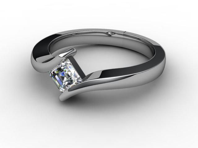 Certificated Asscher-Cut Diamond Solitaire Engagement Ring in 18ct. White Gold