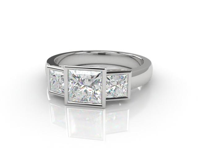 Trilogy 18ct. White Gold Asscher-Cut Diamond
