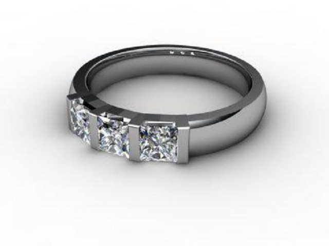 Trilogy 18ct. White Gold Asscher-Cut Diamond