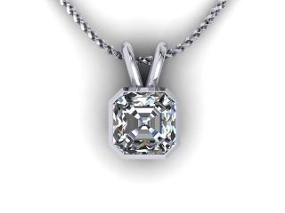 Certified Asscher-Cut Diamond Pendant - 9