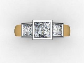 Trilogy 18ct. Yellow Gold Asscher-Cut Diamond - 12