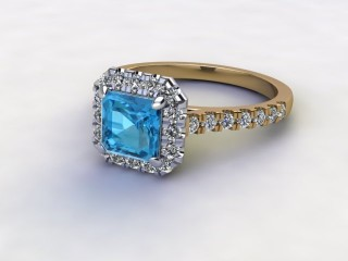 Natural Sky Blue Topaz and Diamond Halo Ring. Hallmarked 18ct. Yellow Gold-06-2838-8931
