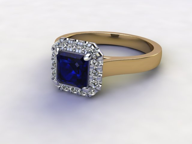 Natural Kanchanaburi Sapphire and Diamond Halo Ring. Hallmarked 18ct. Yellow Gold