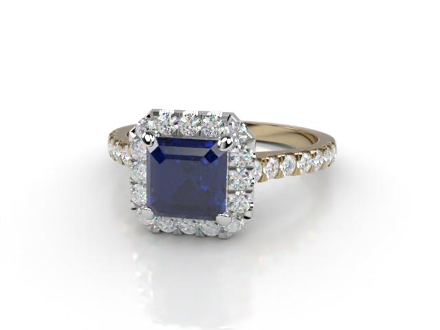 Natural Kanchanaburi Sapphire and Diamond Halo Ring. Hallmarked 18ct. Yellow Gold
