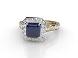 Natural Kanchanaburi Sapphire and Diamond Halo Ring. Hallmarked 18ct. Yellow Gold-06-2847-8933