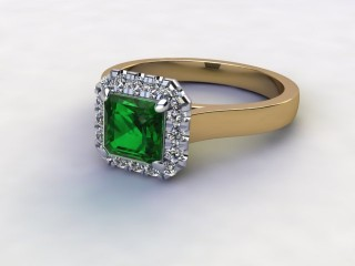 Natural Green Tourmaline and Diamond Halo Ring. Hallmarked 18ct. Yellow Gold-06-2851-8930