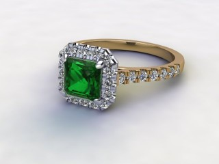 Natural Green Tourmaline and Diamond Halo Ring. Hallmarked 18ct. Yellow Gold-06-2851-8931