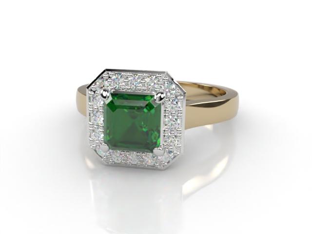 Natural Green Tourmaline and Diamond Halo Ring. Hallmarked 18ct. Yellow Gold