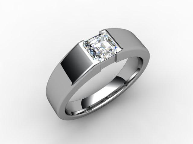 Certificated Asscher-Cut Diamond Solitaire Engagement Ring in Palladium - Main Picture