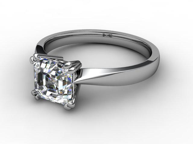 Certificated Asscher-Cut Diamond Solitaire Engagement Ring in Palladium