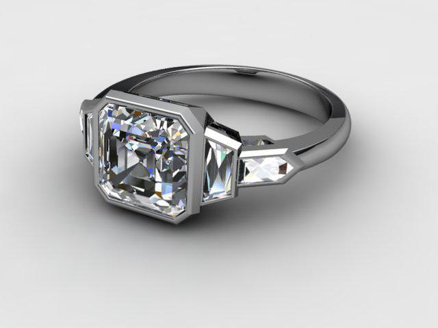 Certificated Asscher-Cut Diamond in Palladium - Main Picture