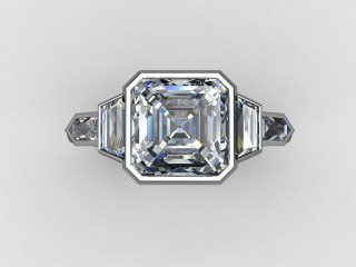 Certificated Asscher-Cut Diamond in Palladium - 9
