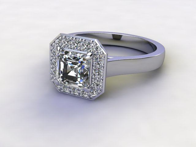 Certificated Asscher-Cut Diamond in Palladium
