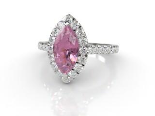 Natural Pink Sapphire and Diamond Halo Ring. Hallmarked Platinum (950)-07-0124-8934