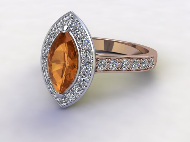 Natural Citrine and Diamond Halo Ring. Hallmarked 18ct. Rose Gold
