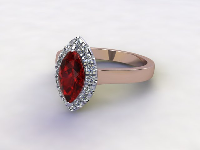 Natural Mozambique Garnet and Diamond Halo Ring. Hallmarked 18ct. Rose Gold