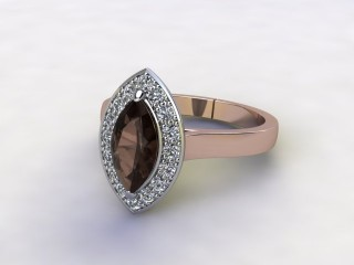 Natural Smoky Quartz and Diamond Halo Ring. Hallmarked 18ct. Rose Gold-07-0439-8936