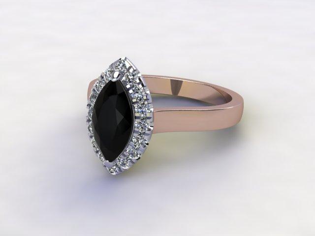 Natural Smoky Quartz and Diamond Halo Ring. Hallmarked 18ct. Rose Gold