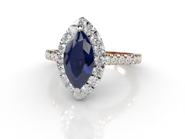 Natural Kanchanaburi Sapphire and Diamond Halo Ring. Hallmarked 18ct. Rose Gold