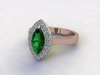 Natural Green Tourmaline and Diamond Halo Ring. Hallmarked 18ct. Rose Gold-07-0451-8936