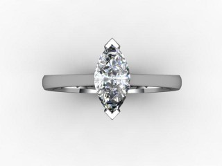 Certificated Marquise Diamond Solitaire Engagement Ring in 18ct. White Gold - 9