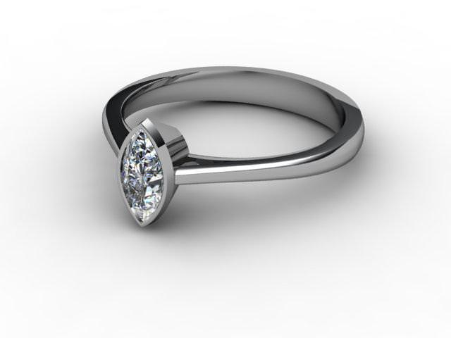 Certificated Marquise Diamond Solitaire Engagement Ring in 18ct. White Gold