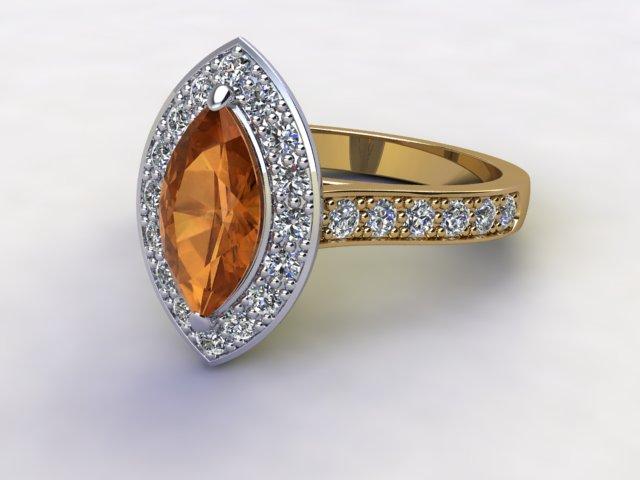 Natural Citrine and Diamond Halo Ring. Hallmarked 18ct. Yellow Gold