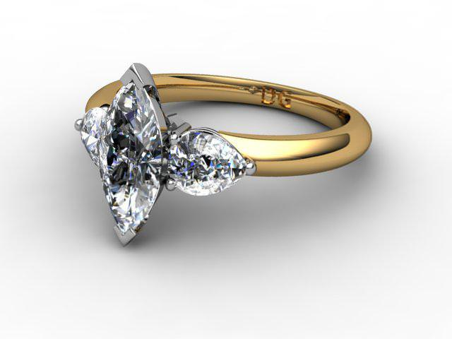 Trilogy 18ct. Yellow Gold Marquise & Pearshape Diamond