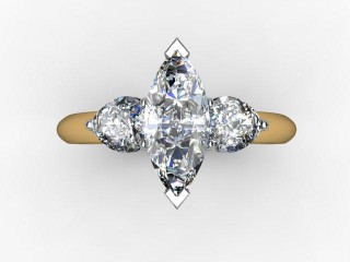 Trilogy 18ct. Yellow Gold Marquise & Pearshape Diamond - 12