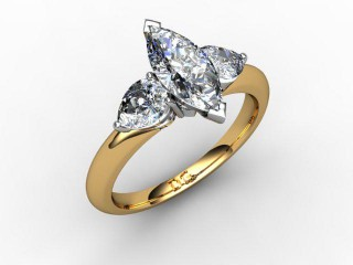 Trilogy 18ct. Yellow Gold Marquise & Pearshape Diamond - 15