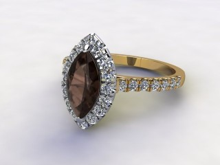Natural Smoky Quartz and Diamond Halo Ring. Hallmarked 18ct. Yellow Gold-07-2839-8934