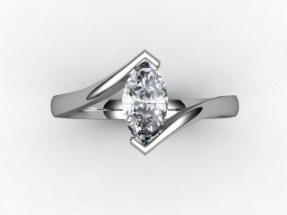 Certificated Marquise Diamond Solitaire Engagement Ring in Palladium - 9
