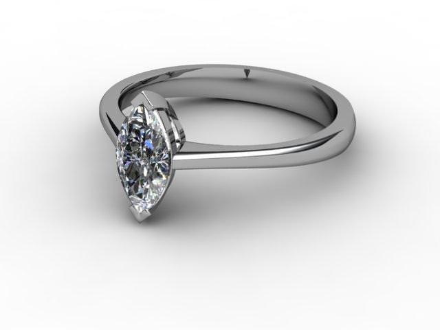 Certificated Marquise Diamond Solitaire Engagement Ring in Palladium - Main Picture