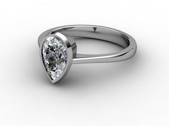 Certificated Pear Shape Diamond Solitaire Engagement Ring in Platinum - Main