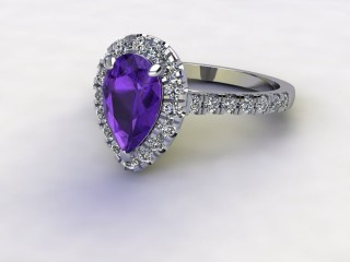 Natural Amethyst and Diamond Halo Ring. Hallmarked Platinum (950)-08-0112-8938