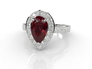 Natural Mozambique Garnet and Diamond Halo Ring. Hallmarked Platinum (950)-08-0117-8941