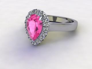 Natural Pink Sapphire and Diamond Halo Ring. Hallmarked Platinum (950)-08-0124-8939