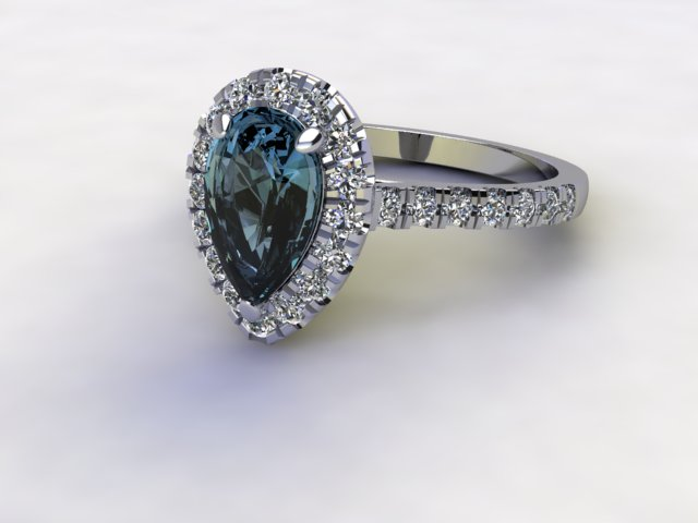 Natural London Topaz and Diamond Halo Ring. Hallmarked Platinum (950)