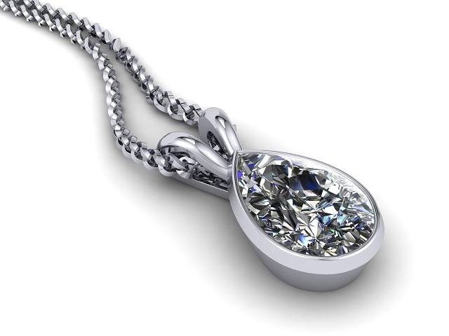 Certified Pearshape Diamond Pendant