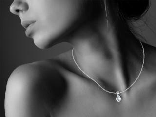 Certified Pearshape Diamond Pendant  - 12