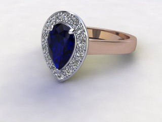 Natural Kanchanaburi Sapphire and Diamond Halo Ring. Hallmarked 18ct. Rose Gold-08-0447-8940